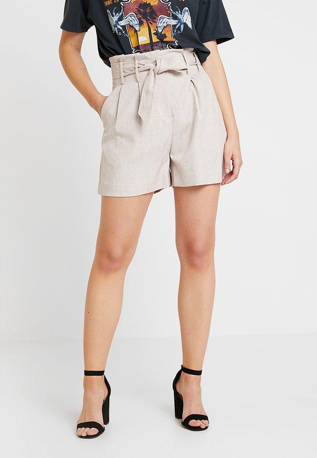 BELTED HIGH WAIST SHORT COORD - Shorts - beige