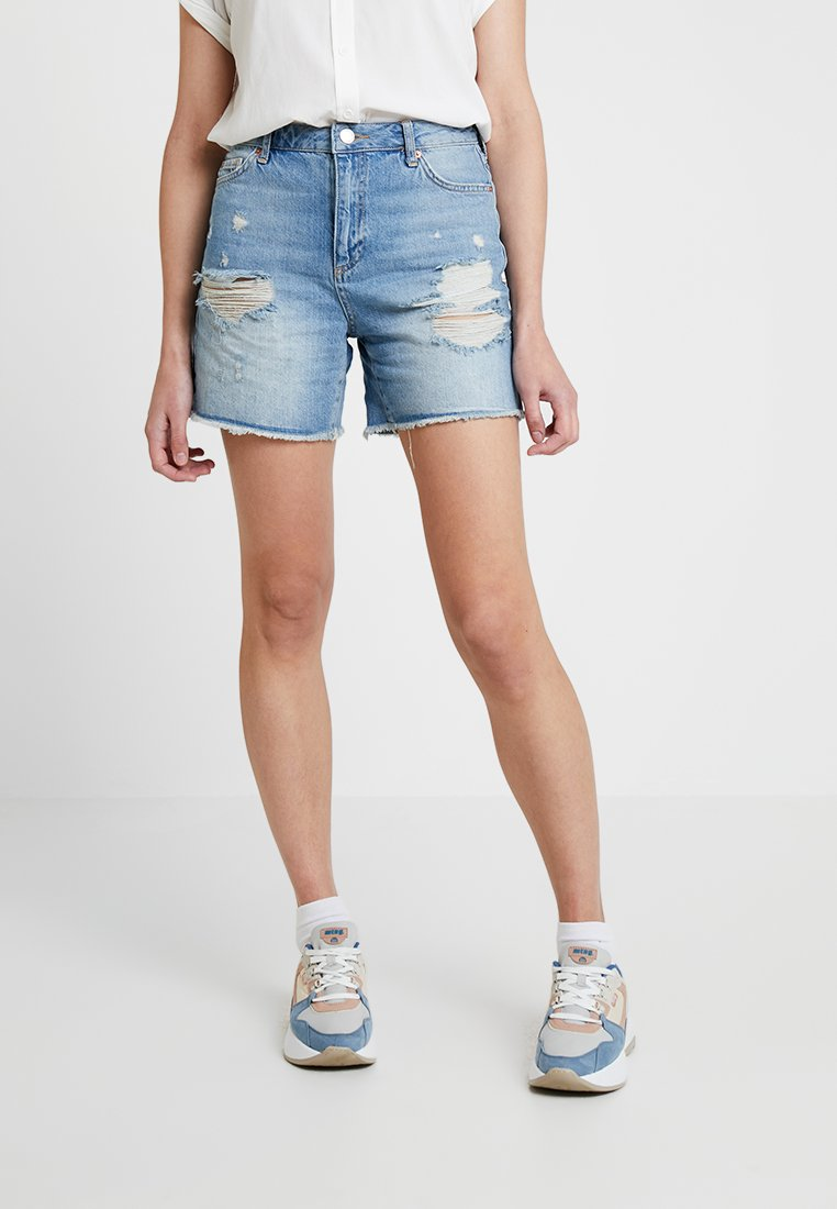 Miss Selfridge - LONGLINE RIPPED - Denim shorts - blue denim