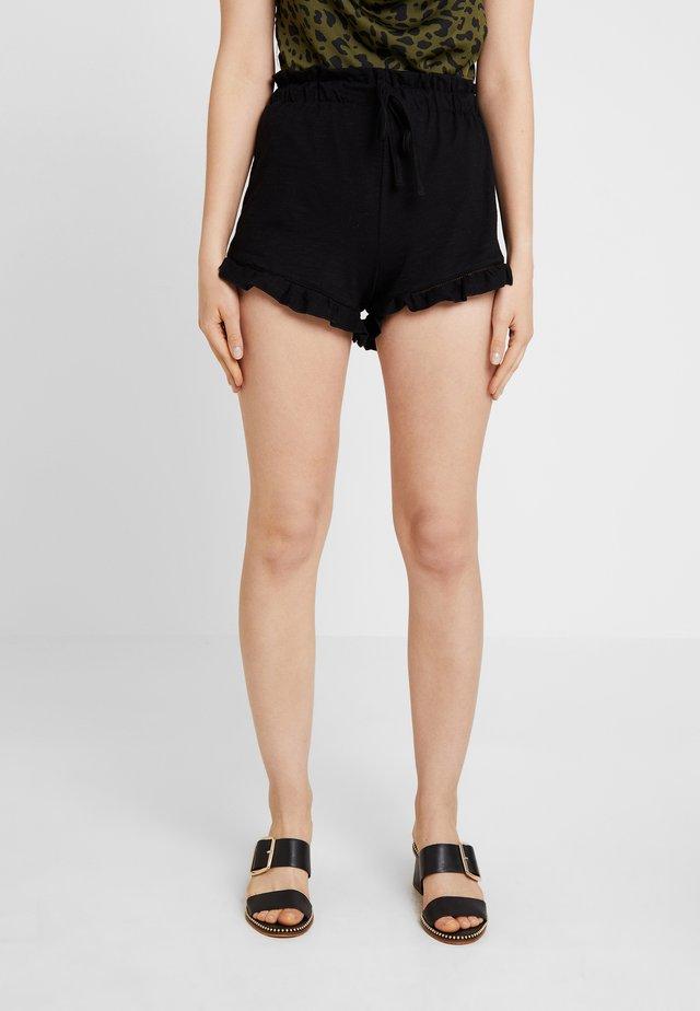 RUFFLE HEM - Short - black