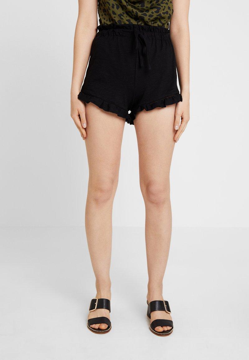 Miss Selfridge - RUFFLE HEM - Shorts - black