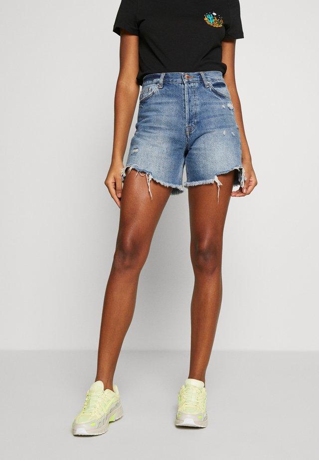 LONGLINE  - Denim shorts - mid blue