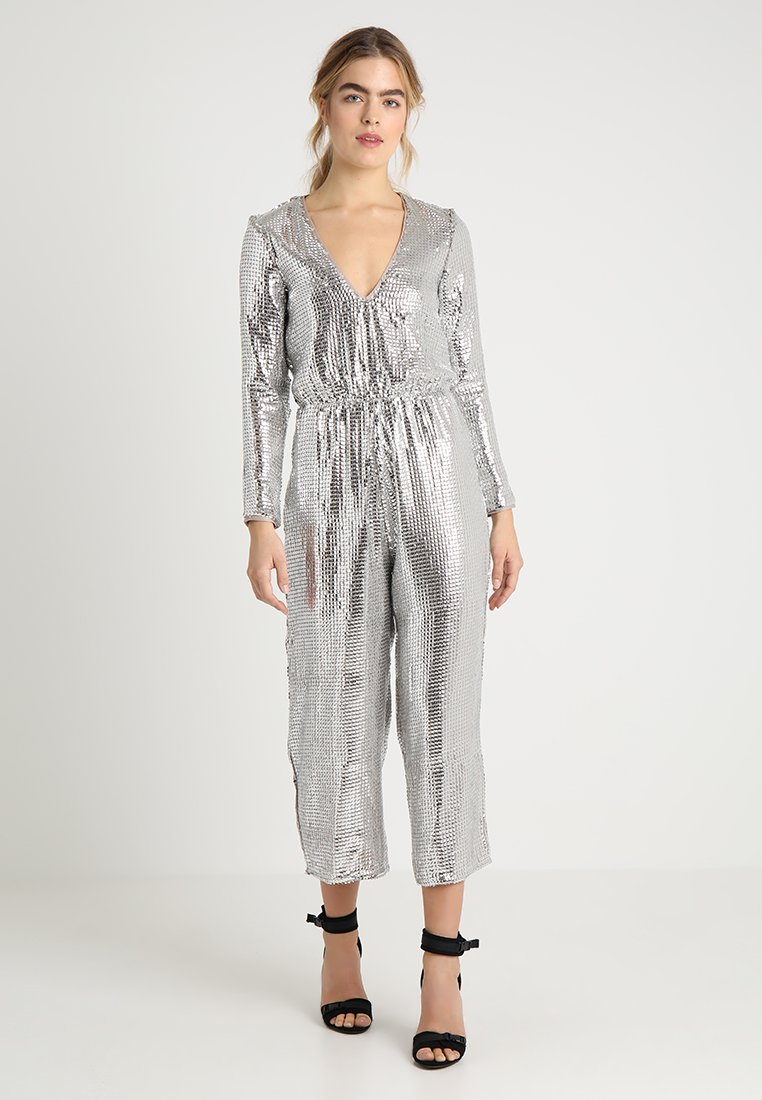Miss Selfridge - ALL OVER SEQUIN CULOTTE - Jumpsuit - silver