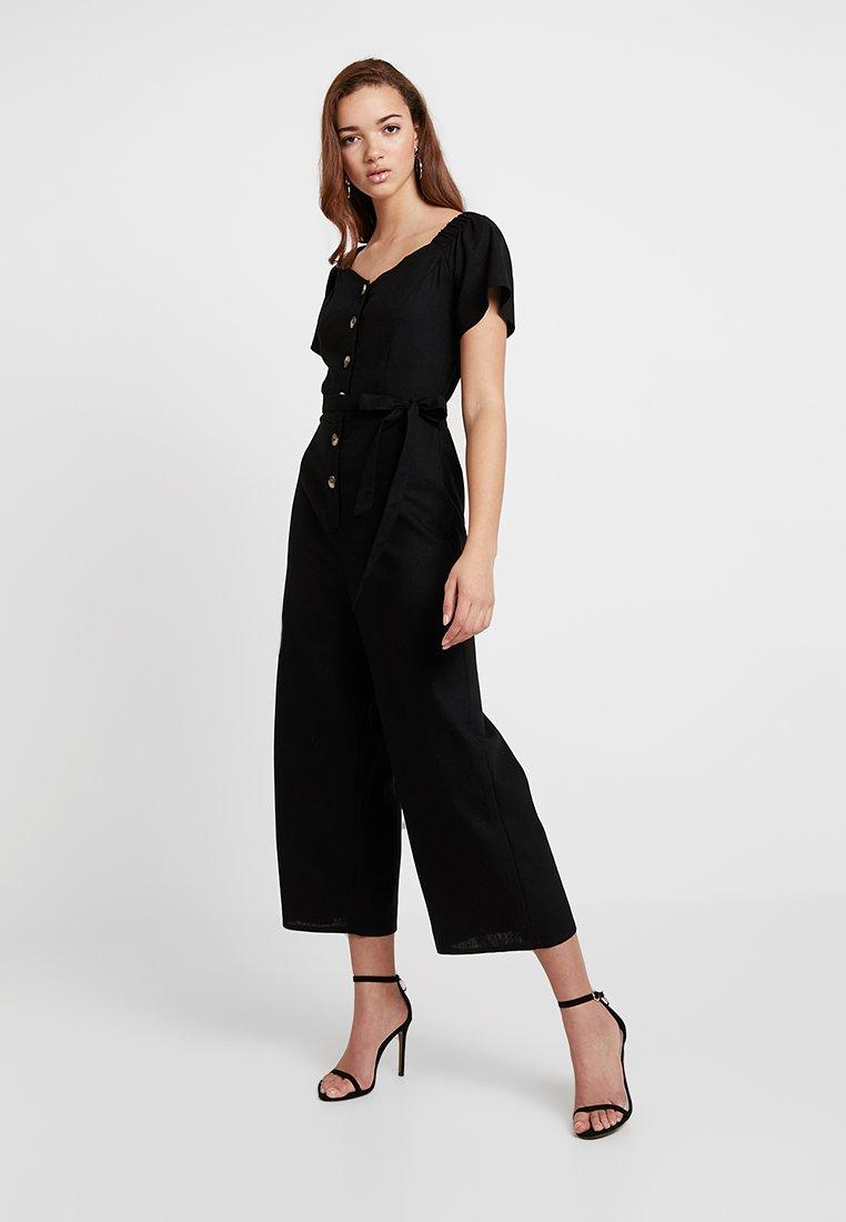 Miss Selfridge - BARDOT BUTTON THROUGH - Jumpsuit - black