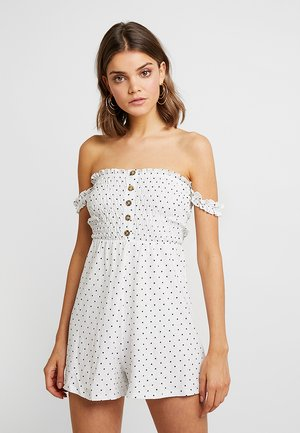 SPOT SHEERED PLAYSUIT - Mono - ivory