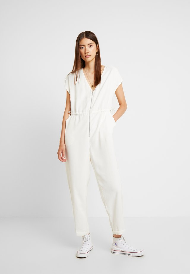 DRAWSTRING ZIP FRONT - Jumpsuit - stone