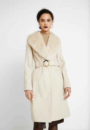 COLLAR BELTED COAT - Abrigo - cream