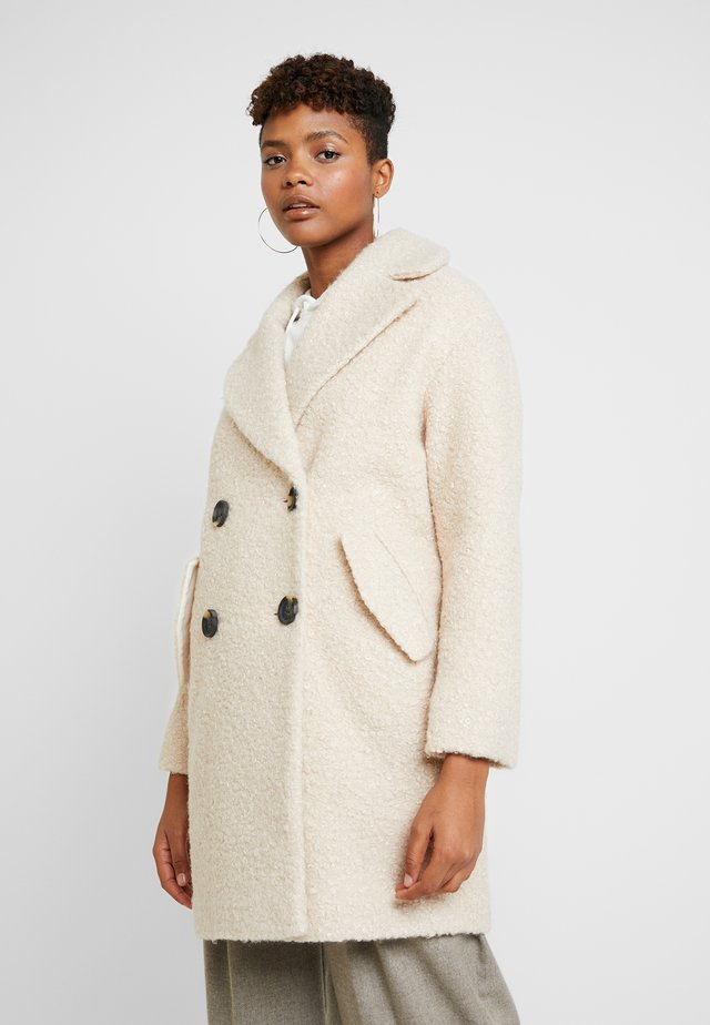 BOUCLE BUTTON OVERCOAT - Classic coat - cream