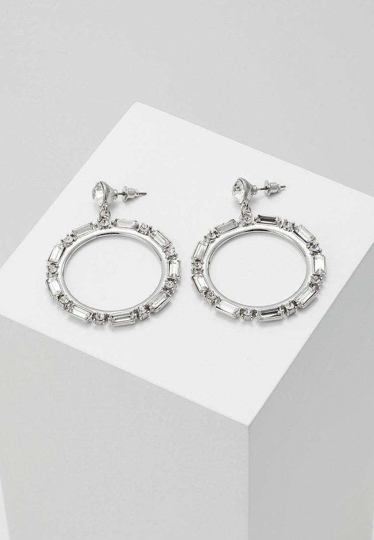 Miss Selfridge - OCCASION BAGUETTE HOOP DROP - Earrings - silver-coloured