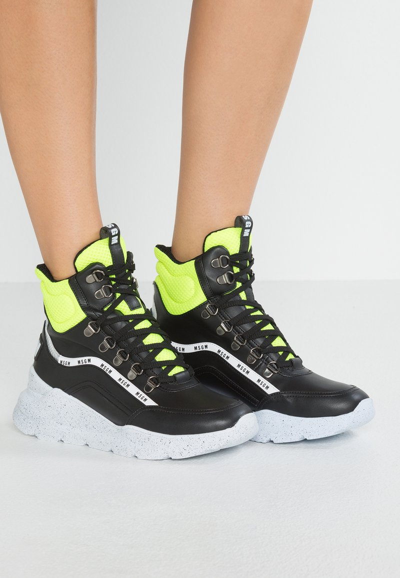 neon Yellow Msgm Chunky Lace Running Up MidBaskets Black Montantes EHW2ID9