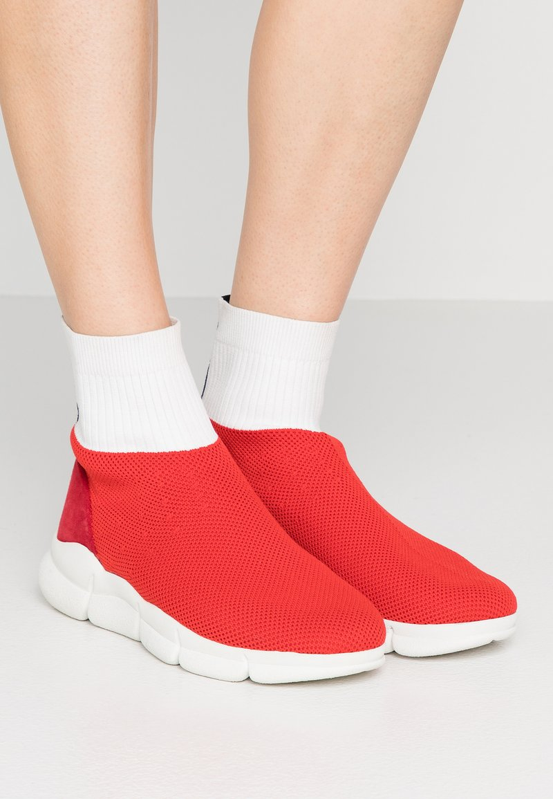 MSGM - SOCK Z WAVES ANKLE SOFT - High-top trainers - red/white