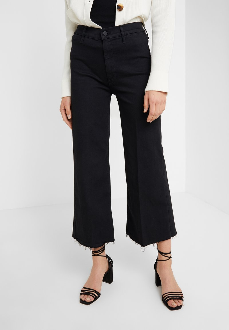 Mother - THE SWOONER ROLLER CROP FRAY - Straight leg jeans - black