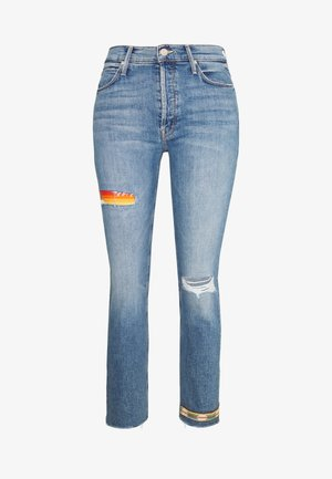 THE MID RISE BUTTON FLY DAZZLER ANKLE FRAY  - Jean droit - blue