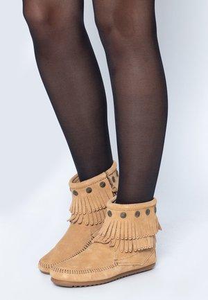 DOUBLE FRINGE SIDE ZIP - Boots à talons - tan