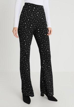 IRREGULAR SPOT FLARE TROUSER - Pantaloni - black