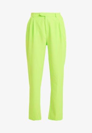 HIGH WAISTED LEG TROUSERS - Tygbyxor - neon green