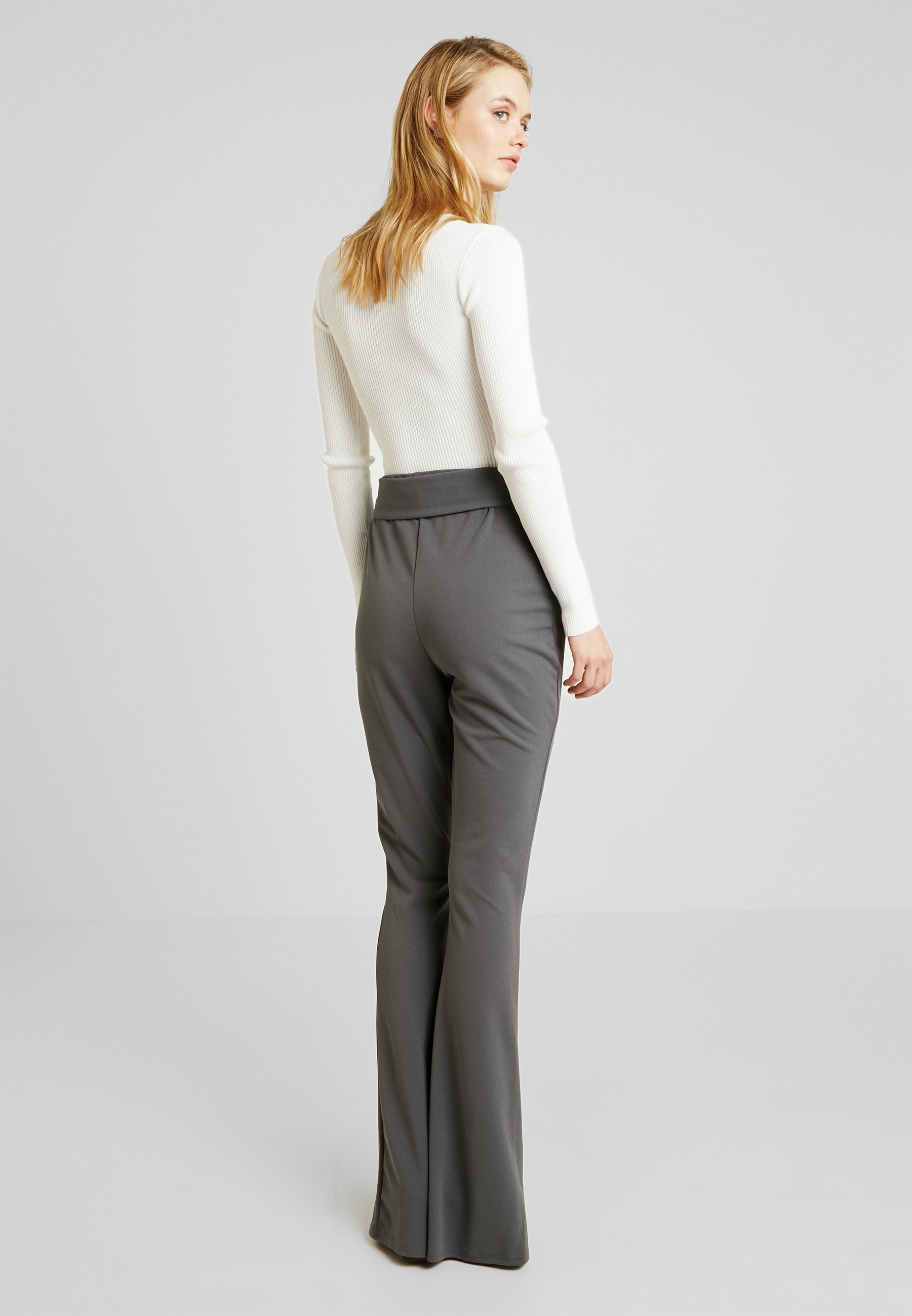 TrousersPantalon Classique Missguided Seam Belted Flared Grey Front Tall zGLUpSMqV