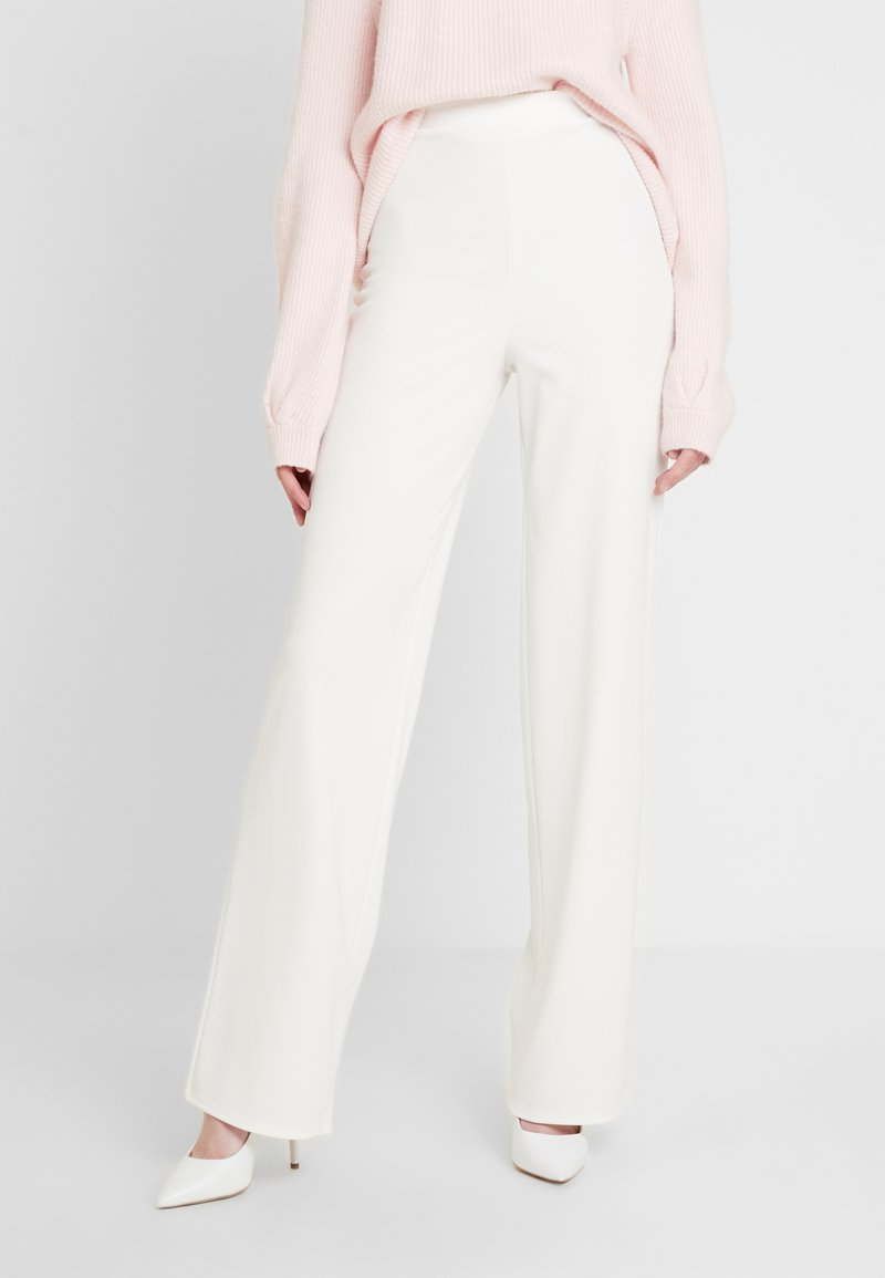 Missguided Tall - HIGH WAISTED WIDE LEG TROUSERS - Trousers - white