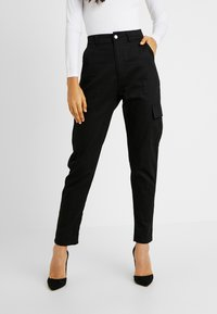 Missguided Tall - HIGH WAISTED TROUSERS WITH SIDE POCKETS - Kalhoty - black - 0