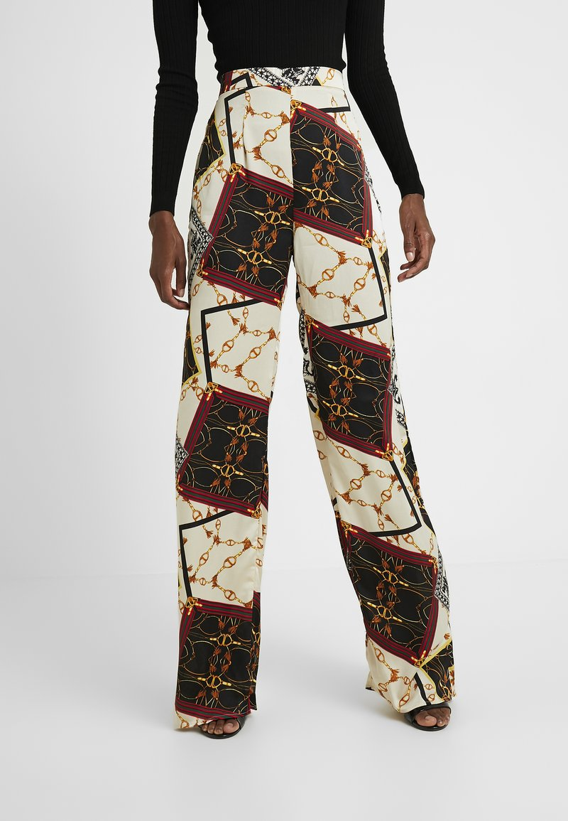 Missguided Tall - WIDE LEG PRINTED TROUSER - Bukser - cream