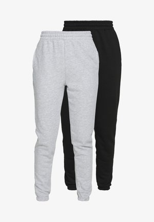 BASIC 2 PACK - Tracksuit bottoms - black/grey marl