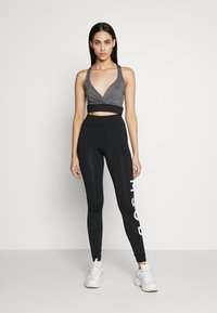 Missguided Tall - CROSS FRONT SPORTS BRA AND LEGGING SET ACTIVEWEAR - Leggings - Trousers - black - 0