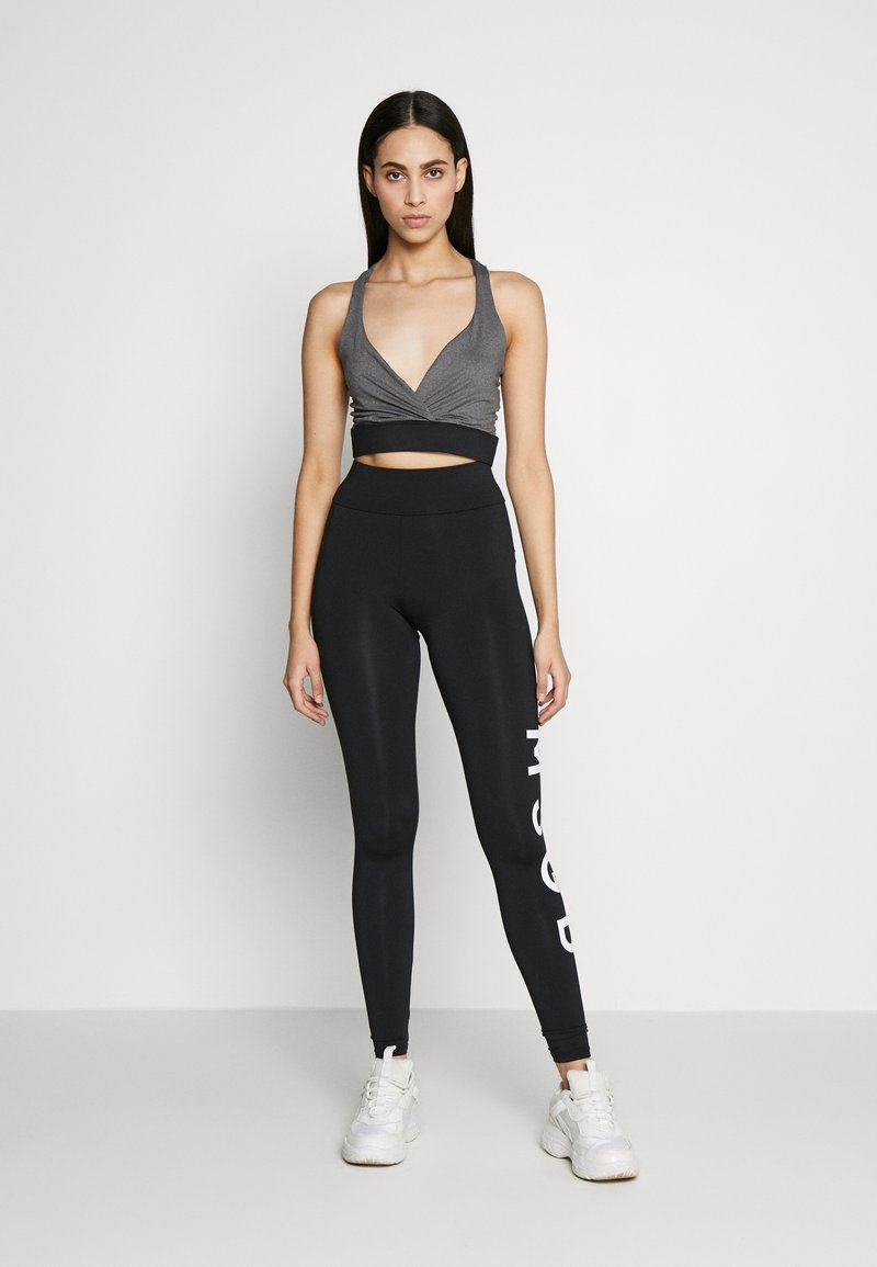 Missguided Tall - CROSS FRONT SPORTS BRA AND LEGGING SET ACTIVEWEAR - Leggings - Trousers - black