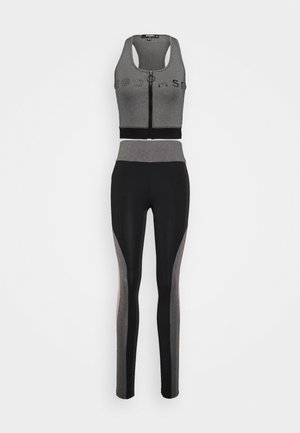 ZIP FRONT CROP AND LIME INSERT PANEL SET - Leggings - grey