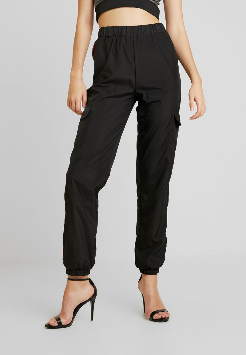 Missguided Tall - STRIPE JOGGER - Tracksuit bottoms - black