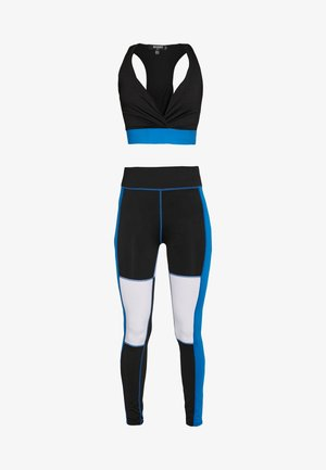 COLOUR BLOCK RACER BACK CROP TOP AND LEGGING ACTIVEWEAR - Leggings - Trousers - black