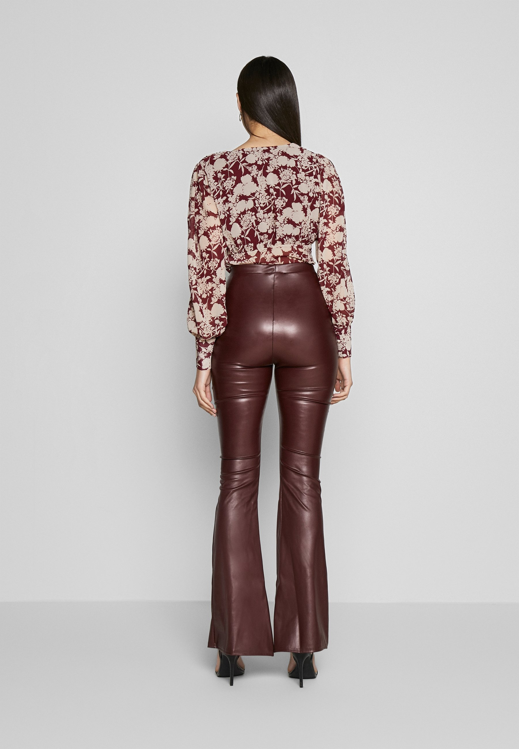 Missguided Tall SEAM DETAIL FLARE TROUSER - Spodnie materiałowe - wine