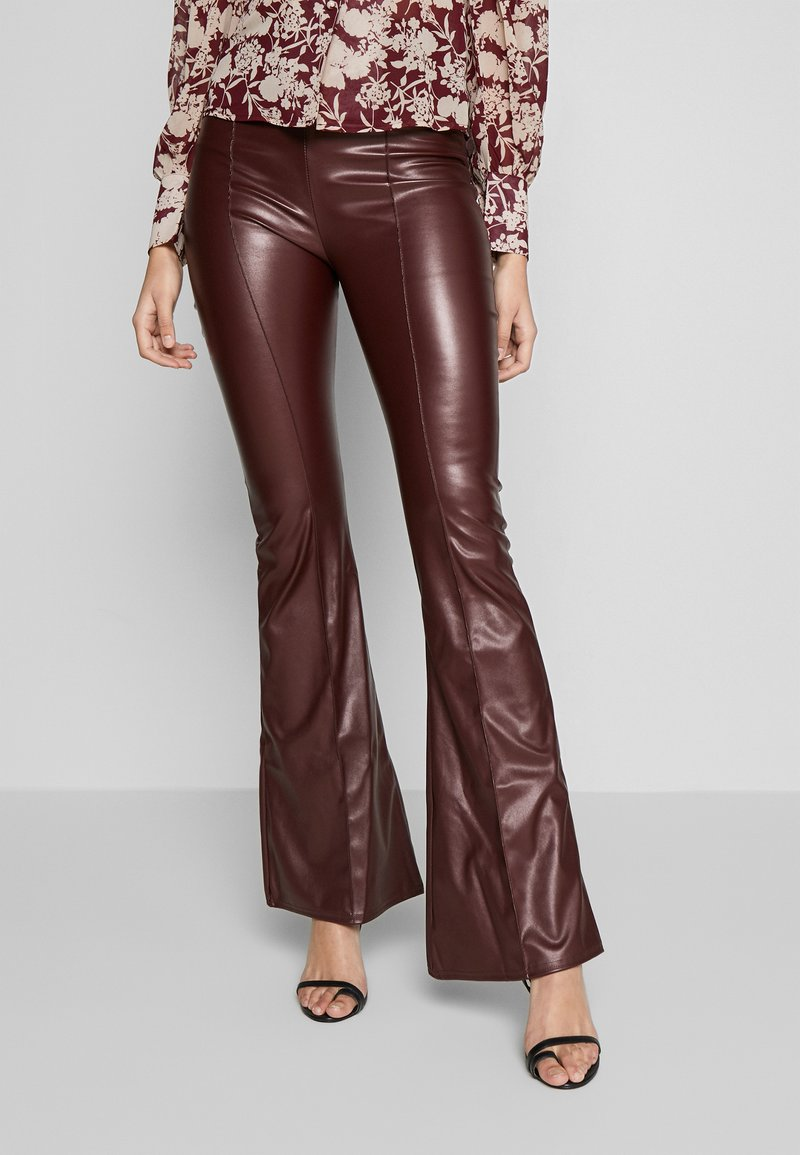 Missguided Tall - SEAM DETAIL FLARE TROUSER - Kalhoty - wine