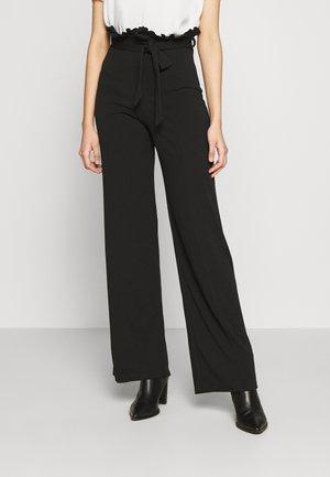 FRILL TIE BELT TROUSER - Pantalones - black