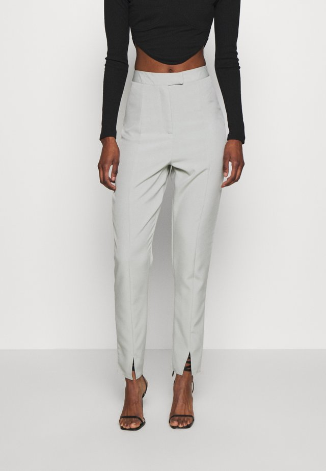 SLIT FRONT CIGARETTE TROUSERS - Kangashousut - green