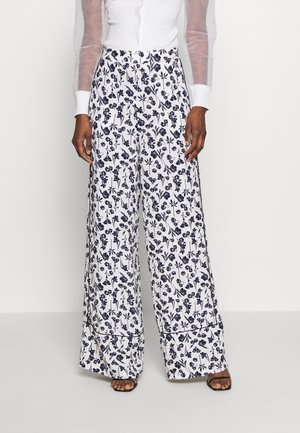 FLORAL WIDE LEG TROUSERS - Bukse - white
