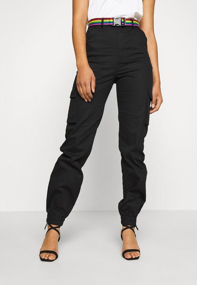 TALLPRIDE BELTED TROUSER - Cargo trousers - black
