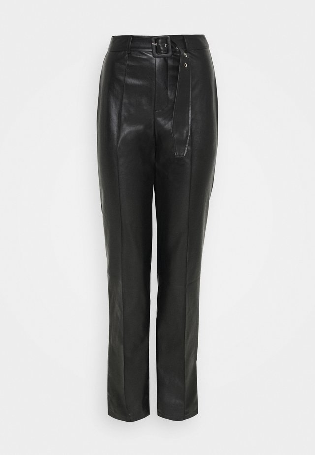 BELTED SEAM DETAIL CIGARETTE TROUSER - Kangashousut - black