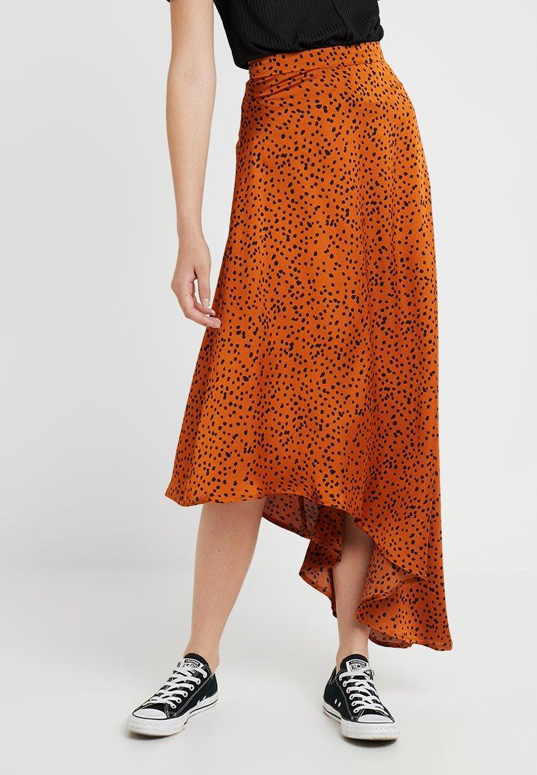 Missguided Tall - SPOT PRINT ASYMMETRIC SKIRT - A-line skirt - rust