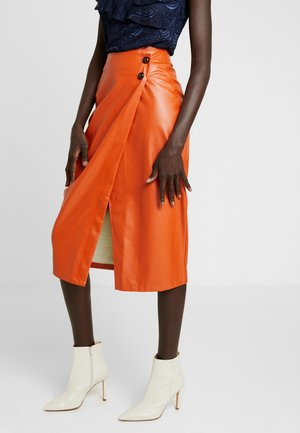 WRAP OVER MIDI SKIRT - Pencil skirt - rust