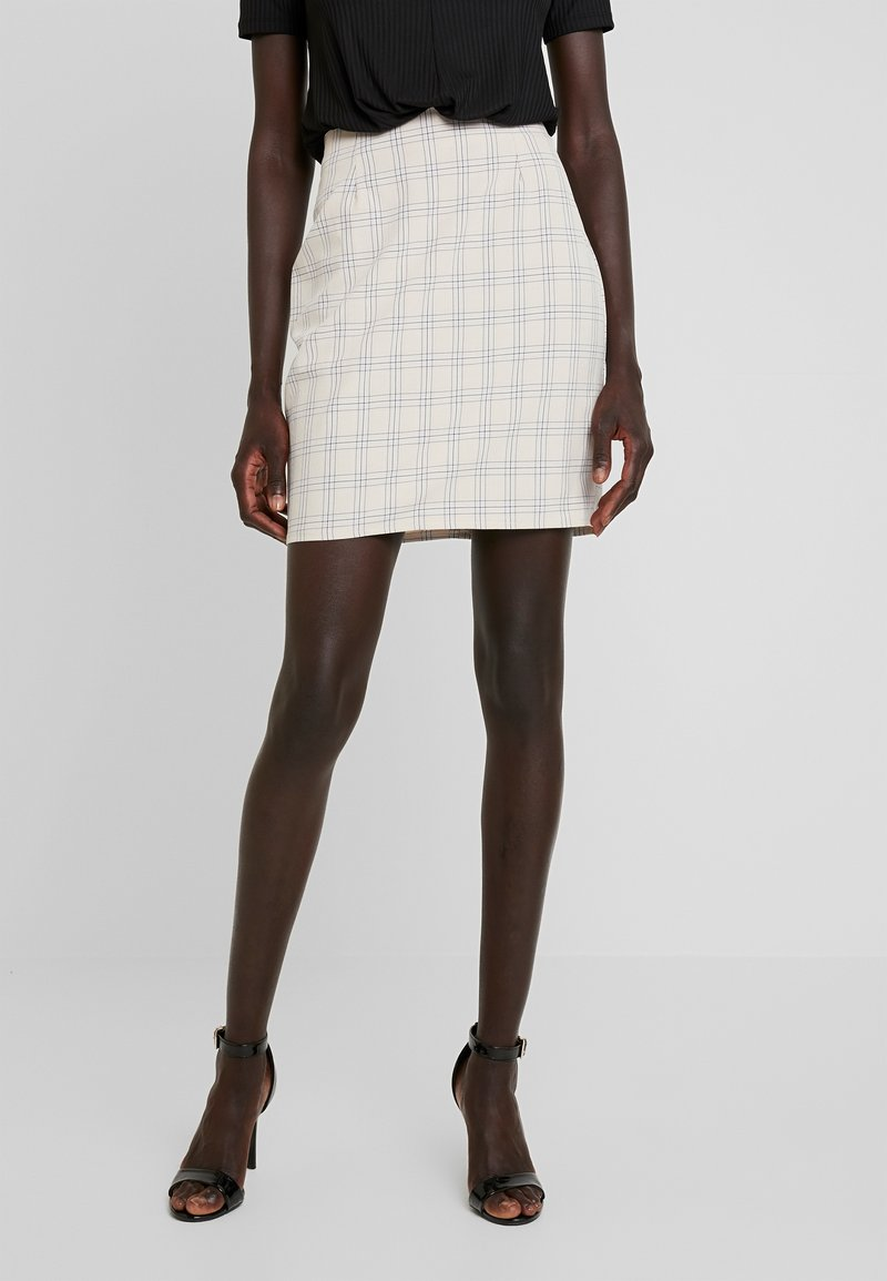 Missguided Tall - CHECK SKIRT - Pencil skirt - beige