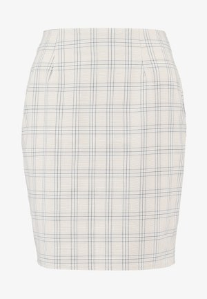 CHECK SKIRT - Pencil skirt - beige