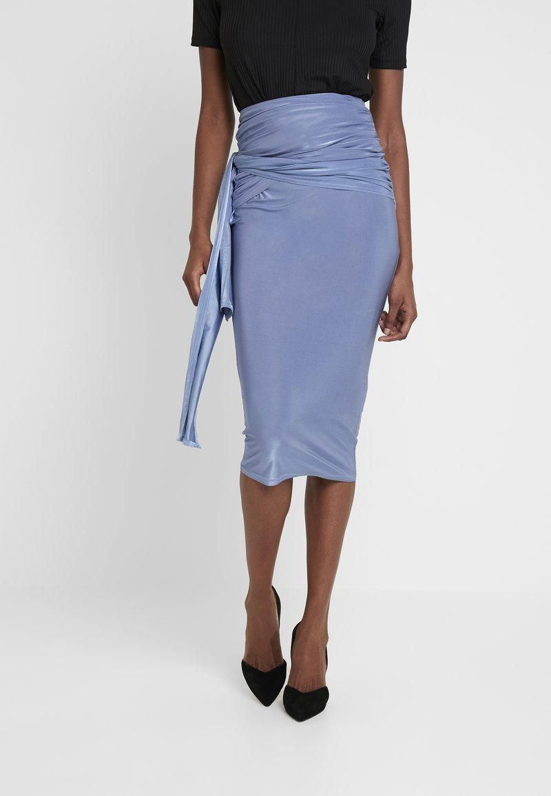 Missguided Tall - SLINKY KNOT FRONT SKIRT - Pencil skirt - blue