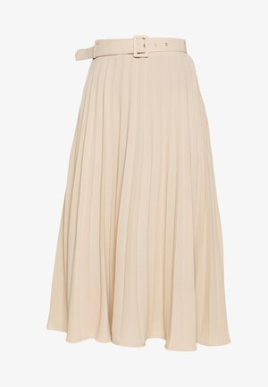 BELTED PLEATED MIDI SKIRT - A-line skirt - cuban sand