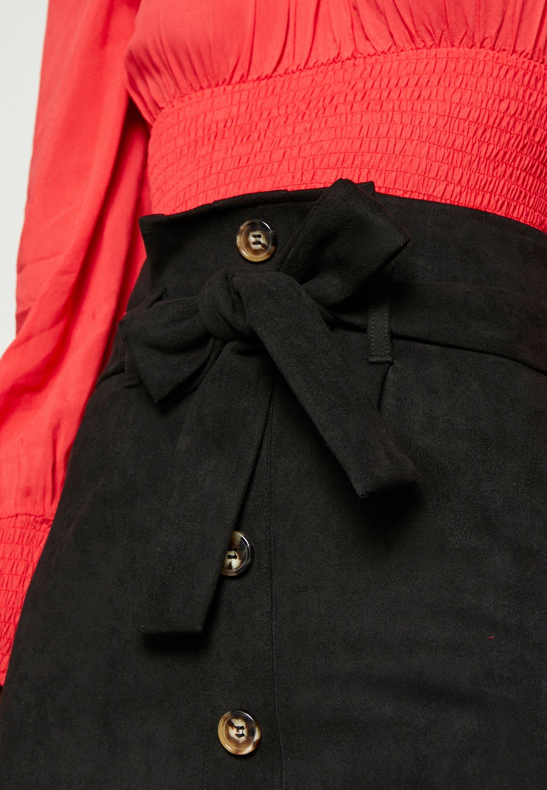 Missguided Tall FAUX PAPERBAG WAIST SKIRT - Spódnica trapezowa - black