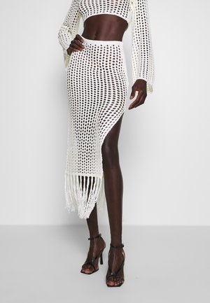 SKIRT WITH SIDE SPLIT AND TASSLES - Gonna a tubino - cream