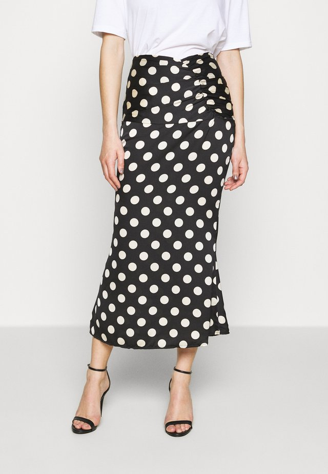 POLKA DOT RUCHED WAIST MIDI SKIRT - Gonna a tubino - black