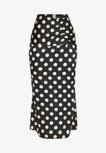 POLKA DOT RUCHED WAIST MIDI SKIRT - Pencil skirt - black