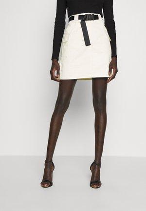 BELTED UTILITY SKIRT - Mini skirt - cream