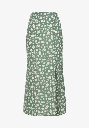 GREEN PRINTED MIDI SLIP SKIRT - A-line skirt - green