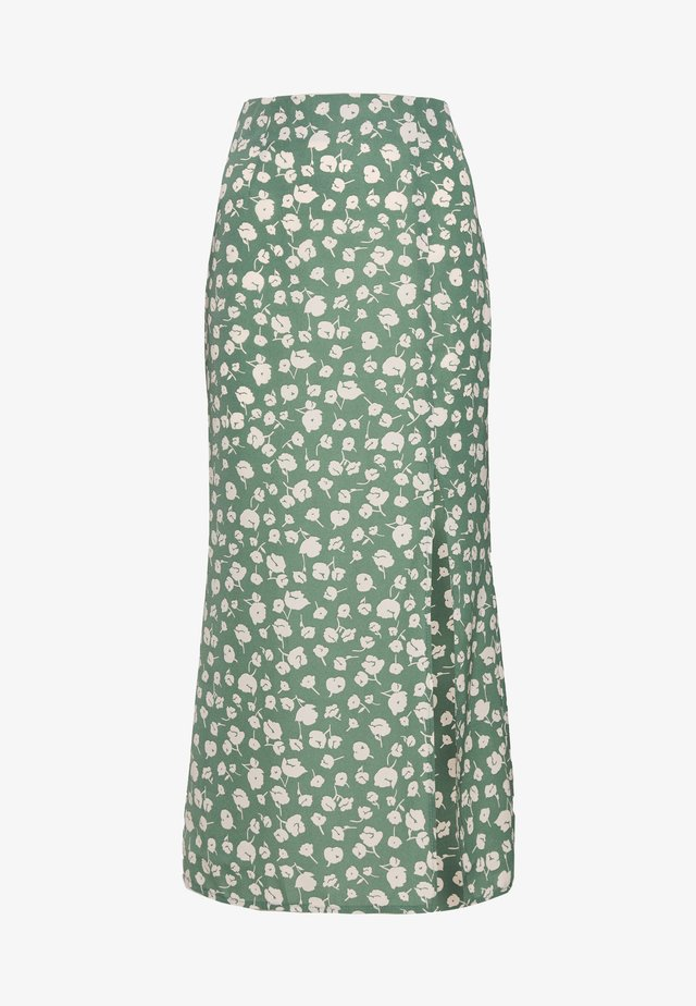 GREEN PRINTED MIDI SLIP SKIRT - A-linjekjol - green