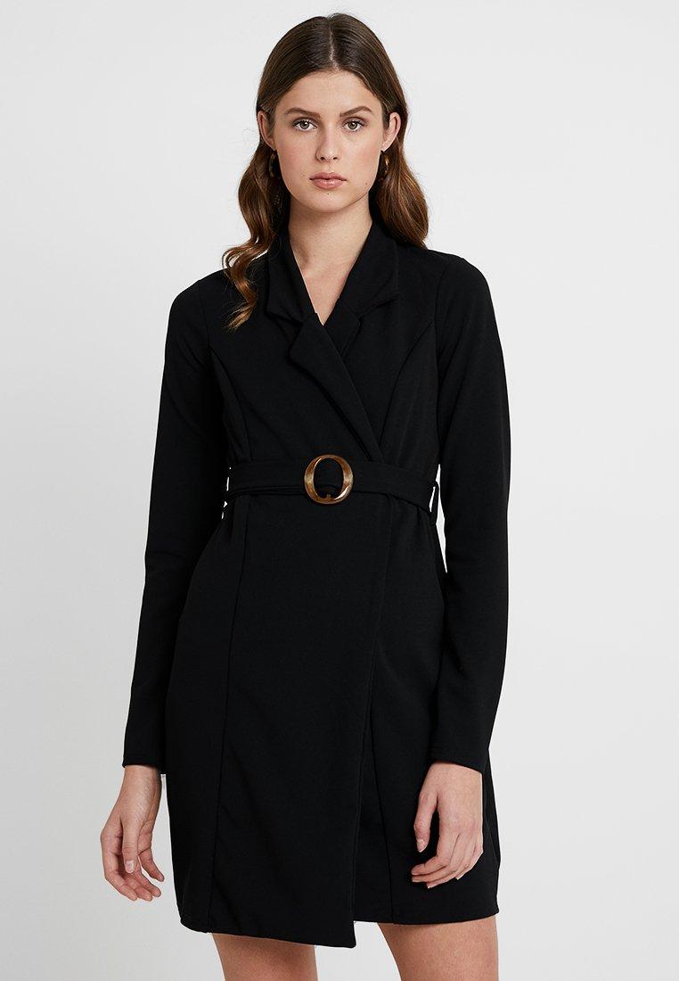 Missguided Tall - LONG SLEEVE TORTOISE SHELL BELT DRESS - Robe en jersey - black